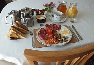 A full Cornish breakfast is served in our dining room