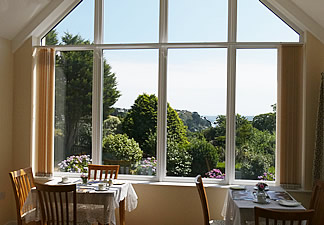 Dining room overlooks garden
